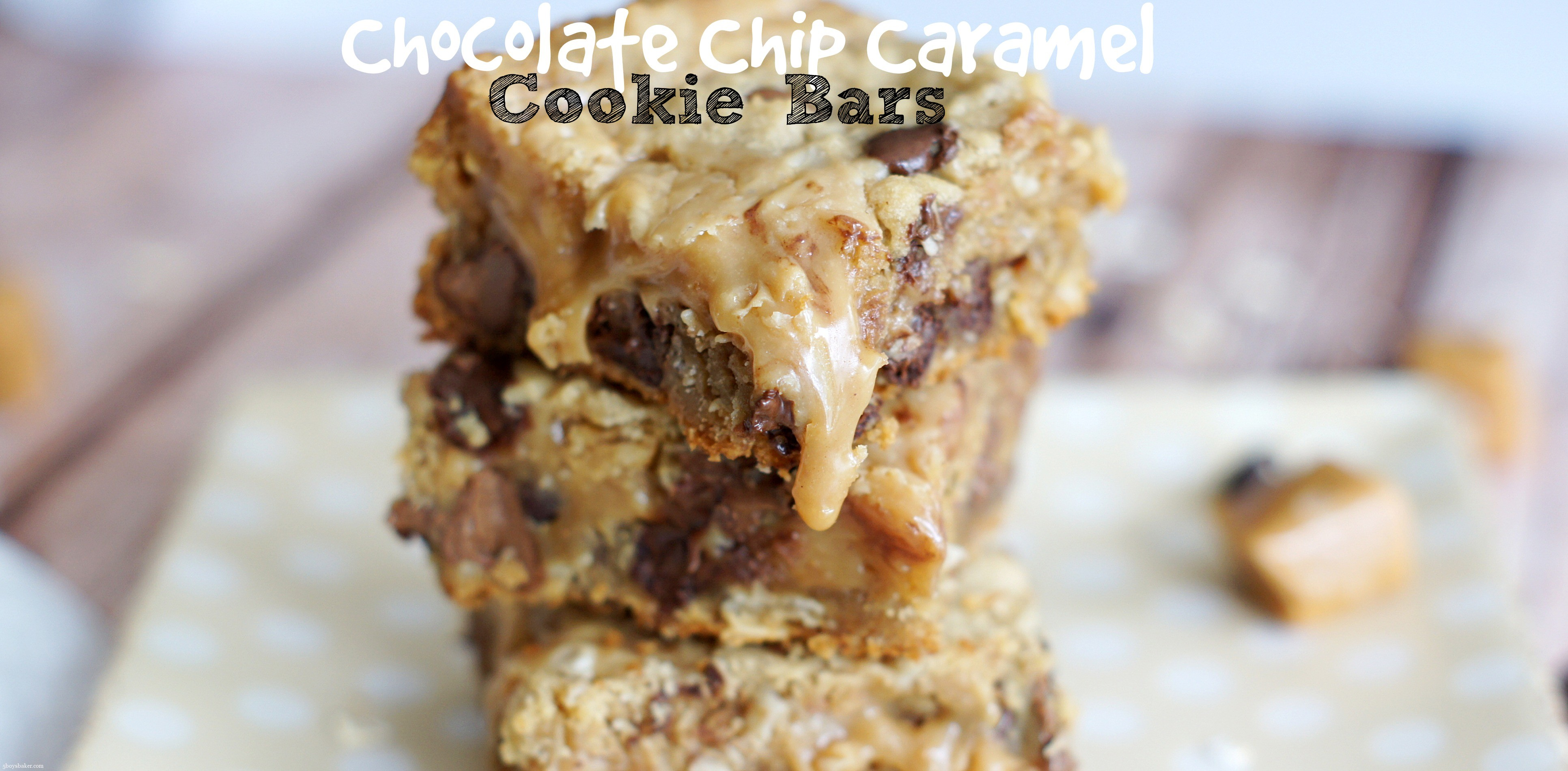 Chocolate Chip Caramel Cookie Bars - 5 Boys Baker
