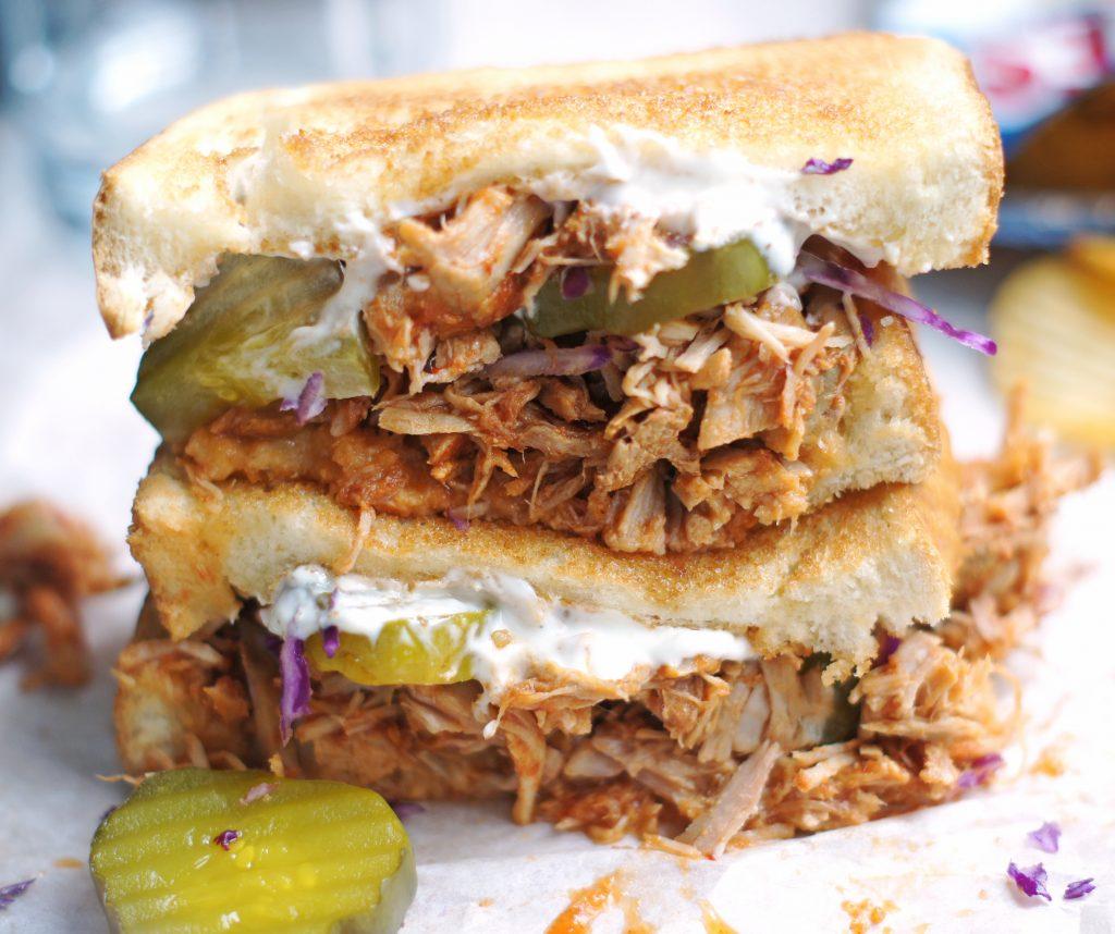 slow cooker adobo pork sandwiches